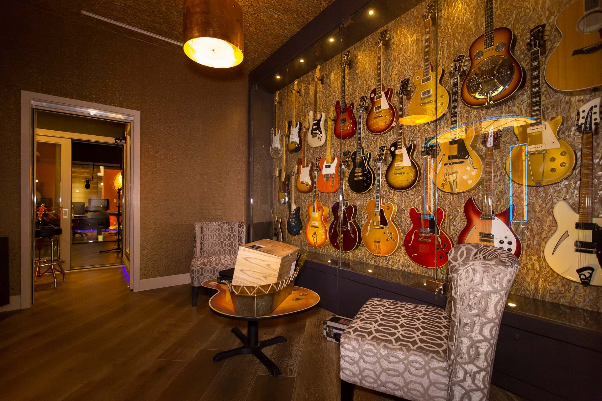 Guitar and Bass Wall at Ray Parker Jr.'s Studio