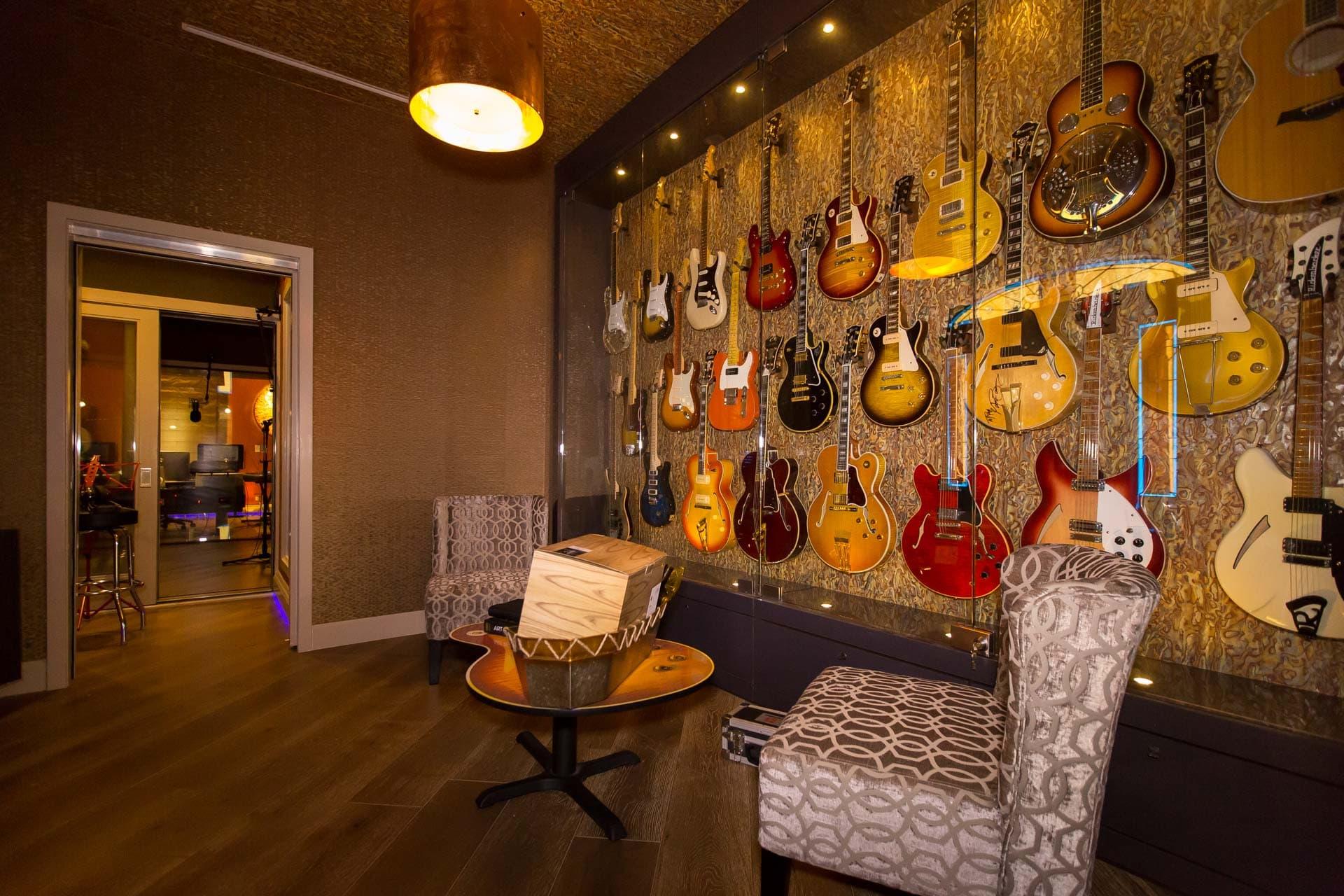Guitar and Bass Wall at Ray Parker Jr.'s Studio